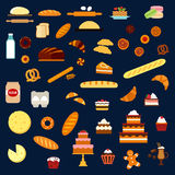 Bakery, pastry and confectionery flat icons Stock Images