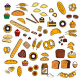 Bakery, pastry, confectionery products sketches stock illustration
