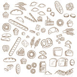 Bakery, pastry and confectionery sketches. Bakery, pastry and confectionery sketched icons with various breads and loafs, croissants and pretzels, donuts and royalty free illustration