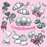 Bakery and pastry,confectionery for winter holiday. Confectionery banner with christmastide or new year candy stick or cane, ice cream in waffle cone, lollipop Stock Photos