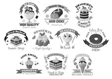 Bakery pastry and desserts vector template icons Stock Photo