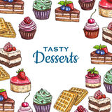 Bakery or pastry food poster, dessert cake. Dessert pastry and bakery food poster. Sweet cake with cream and chocolate, cupcake with strawberry and blueberry or Stock Images