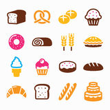 Bakery, pastry icon set - bread, donut, cake, cupcake Royalty Free Stock Images