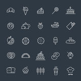 Bakery, pastry icons set - bread, donut, cake, cupcake Stock Photo