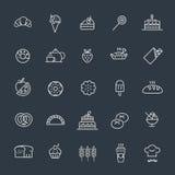 Bakery, pastry icons set - bread, donut, cake, cupcake Stock Photo