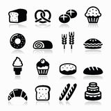 Bakery, pastry icons set - bread, donut, cake, cupcake Stock Photos