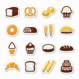 Bakery, pastry icons set - bread, donut, cake, cupcake Royalty Free Stock Images