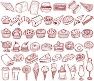 Bakery, pastry icons set. doodle. Stock Photo