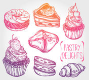 Bakery and pastry icons set in vintage style. Royalty Free Stock Images