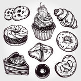 Bakery and pastry icons set in vintage style. Royalty Free Stock Image