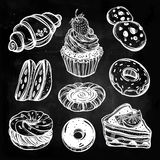 Bakery and pastry icons set in vintage style. Stock Photos