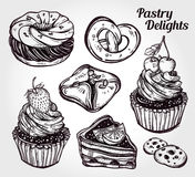 Bakery and pastry icons set in vintage style. Hand drawn confections sweet pastry products.  Isolated vector illustration. Highly detailed elements. Excellent Stock Images