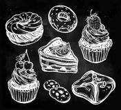 Bakery and pastry icons set in vintage style. Royalty Free Stock Photo