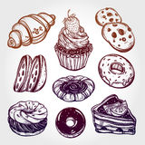 Bakery and pastry icons set in vintage style. Stock Image