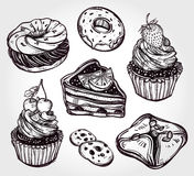 Bakery and pastry icons set in vintage style. Royalty Free Stock Photos