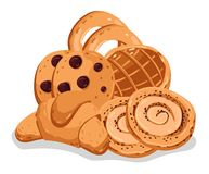 Bakery pastry isolated cartoon illustration set. Bakery pastry isolated on white background cartoon  illustration. Croissant, puff, pie, bagel, chocolate chip Stock Images