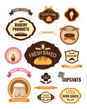 Bakery pastry labels, badges, ribbons, cards and design elements. Set of vintage retro bakery pastry labels, badges, ribbons, cards and design elements. Vector Stock Photo