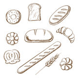 Bakery and pastry object sketches Royalty Free Stock Image