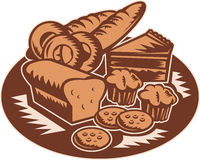 Bakery pastry products vector illustration