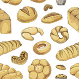 Bakery and pastry products icons set pattern Royalty Free Stock Photos