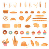 Bakery and pastry products icons. Stock Photography