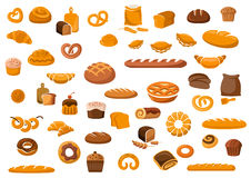 Bakery and pastry products icons. Set with various sorts of bread, sweet buns, cupcakes, dough and cakes for bakery shop or food design Stock Photography