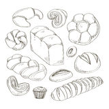 Bakery and pastry products icons set royalty free illustration