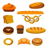 Bakery and pastry products icons set with various sorts of bread, sweet buns, cupcakes, dough and cakes for bakery shop or food de. Sign Royalty Free Stock Photos