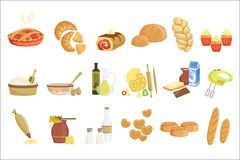 Bakery and pastry products icons set with various sorts of bread, sweet buns, cupcakes, dough and cakes for bakery shop. Or food design royalty free illustration