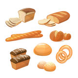 Bakery and pastry products various sorts of bread vector icons Royalty Free Stock Photos
