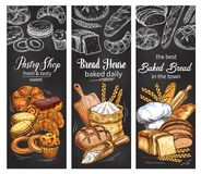 Bakery and pastry shop banner with bread and bun. Bakery and pastry shop chalkboard banner set with bread and bun chalk sketch. Rye bread, wheat baguette and vector illustration