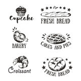 Bakery and pastry shop emblems, icons. And signboards design with assorted bread, buns, cupcake, croissant and pretzel, cartouches, sun rays, wheat ears, toques vector illustration