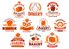 Bakery and pastry shop icons. With decorative elements of bread, dessert, cereal ears, cakes and pretzel, dough and chef toque, ribbons and banners Royalty Free Stock Image