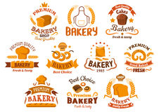 Bakery and pastry shop icons or signboards Royalty Free Stock Photo