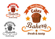 Bakery or pastry shop sign with chocolate cake Royalty Free Stock Image