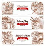 Cakes sketch banner for bakery and pastry design. Bakery and pastry shop sketch banners. Cake, chocolate and cupcake, fruit cream dessert, donut, candy and ice royalty free illustration