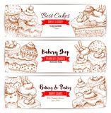 Bakery, pastry shop sketch banners set Stock Photography