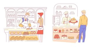 Bakery and pastry shop vendor and customer bread and cakes vector illustration