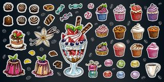 Bakery pastry sweets desserts objects collection shop cafe poster restaurant menu food. Scarpbook hand drawn vector design elements bakehouse cake chocolate vector illustration