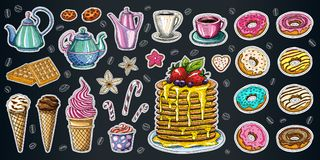 Bakery pastry sweets desserts objects collection shop cafe poster restaurant menu food. Scarpbook hand drawn vector design elements bakehouse cake donuts stock illustration