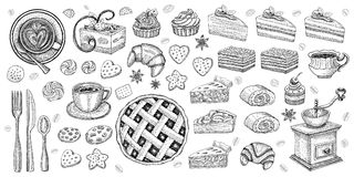 Bakery pastry sweets desserts objects collection shop cafe poster restaurant menu food. Scarpbook hand drawn design elements bakehouse cake pie pancake sweets royalty free illustration