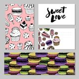 Bakery, pastry sweets and desserts vector banners with cakes and cupcakes, muffins, pies and tarts, vanilla biscuit puddings. stock illustration