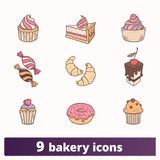 Bakery And Pastry Thin Line Flat Colorful Icons stock illustration