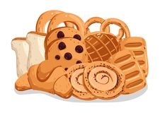 Bakery pastry  cartoon illustration set. Bakery pastry  on white background cartoon  illustration. Croissant, puff, pie, bagel, toast bread, cookie icon. Bakery Royalty Free Stock Photo