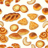 Bakery pattern. Seamless pattern with variety of bakery on white background Royalty Free Stock Image