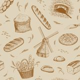 Bakery pattern. Vector hand drawn bakery seamless pattern. Windmill, oven, bread, basket, flour, wheat illustration. Bakery background stock illustration