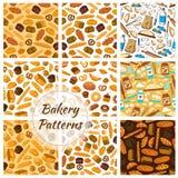 Bakery patterns set. Bread and baking kitchenware Stock Image