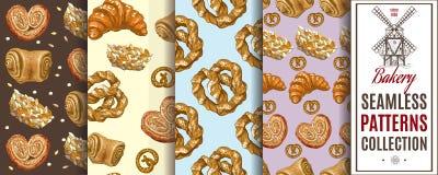 Bakery patterns set Stock Photos