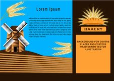 Bakery poster, banner. Linear graphic. Bread and wheat spikelet. windmill. vector illustration