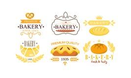 Bakery premium logo set, bakehouse retro badge, fresh and tasty bakery products and pastries vector Illustration on a. Bakery premium logo set, bakehouse retro vector illustration